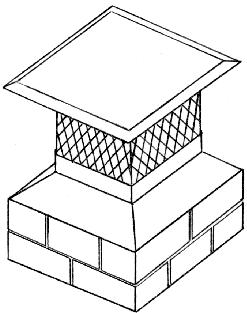 Left, chimney cover with damper. Model shown at right attaches to the outside of a tile liner.